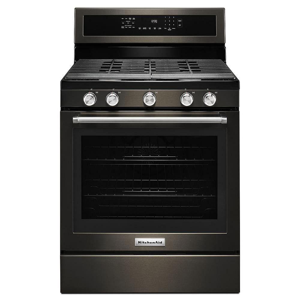 KitchenAid cuisinière à gaz de 5,8 pi3 avec four à convection autonettoyant en acier inoxydable noir