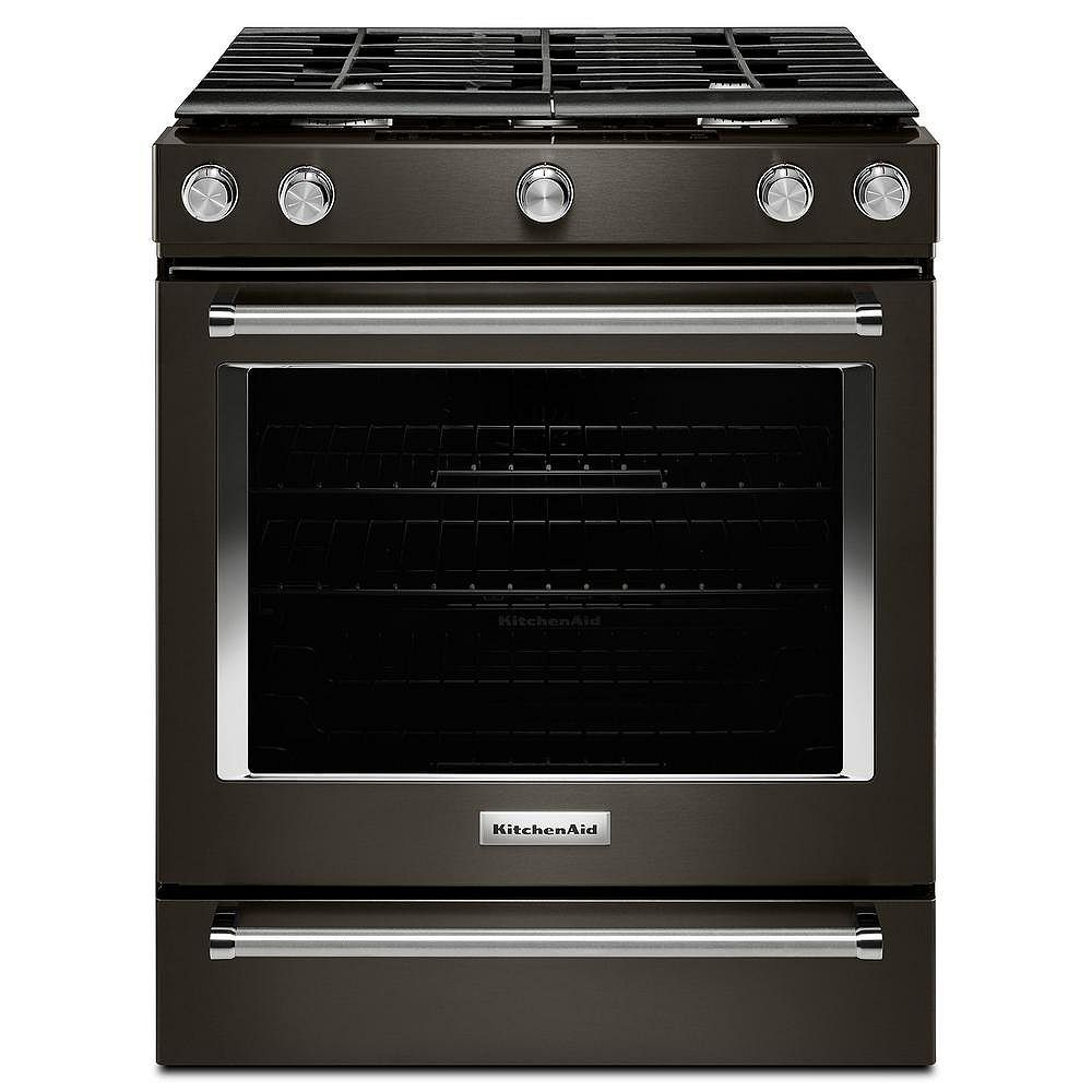 KitchenAid 5.8 cu. ft. Slide-In Gas Range with Self-Cleaning Convection Oven in Black Stainless Steel