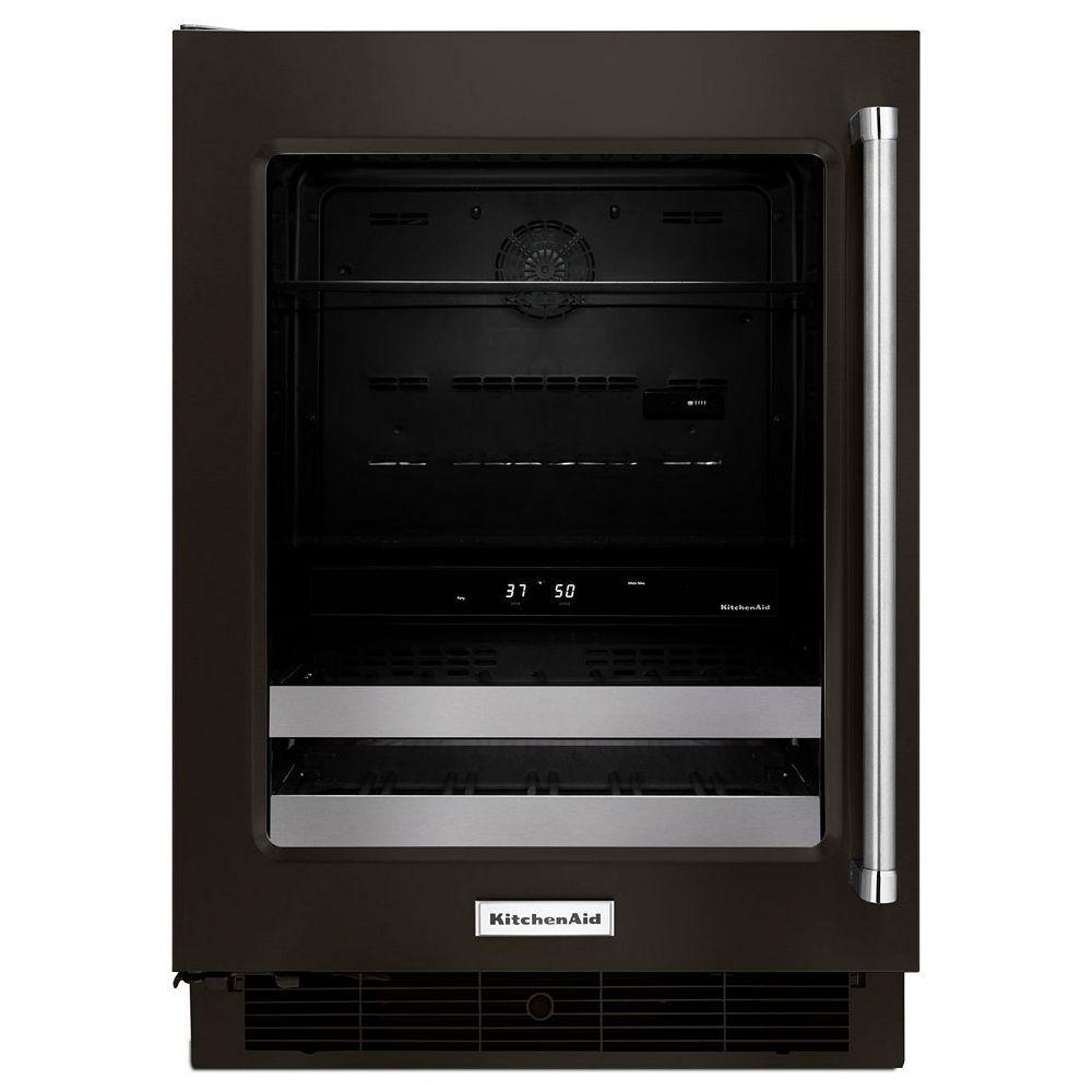 KitchenAid 24-inch W Undercounter Beverage Fridge in PrintShield Black Stainless Steel - Left Door Swing