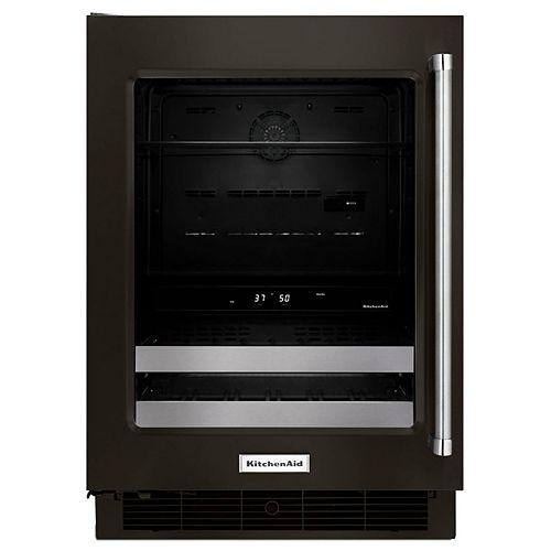 KitchenAid Réfrigérateur 24 pouces W sous le comptoir pour boissons en acier inoxydable noir PrintShield - Porte pivotante à gauche