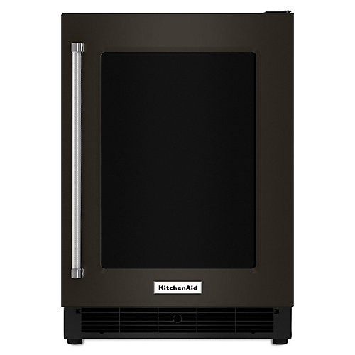 Black Stainless, 24 Inch Undercounter Refrigerator With Glass Door And Metal Trim Shelves