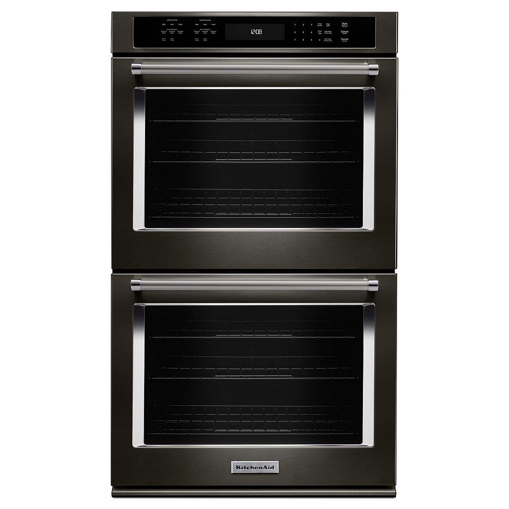KitchenAid 27-inch 8.6 cu. ft. Double Electric Wall Oven Self-Cleaning with Convection in Black Stainless Steel