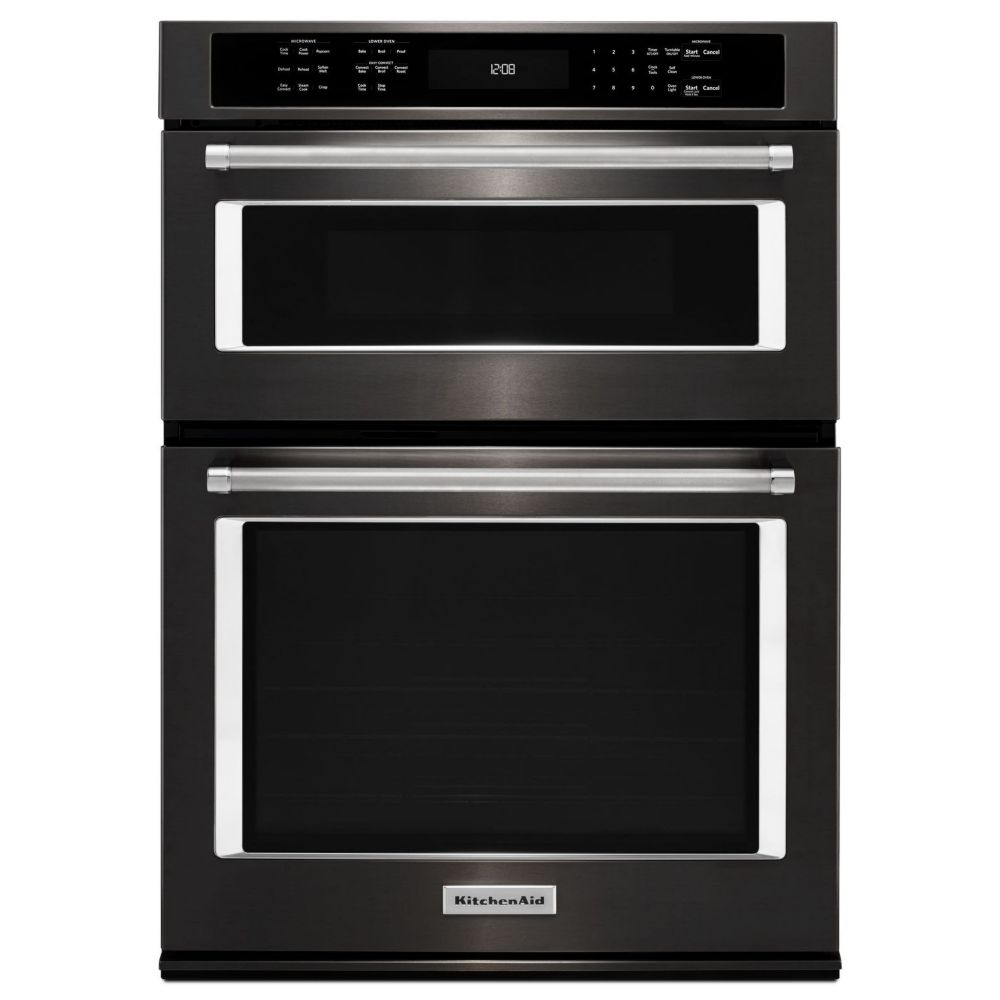30-inch 5.0 cu. ft. Double Electric Wall Oven & Microwave with Convection in Black Stainless Steel