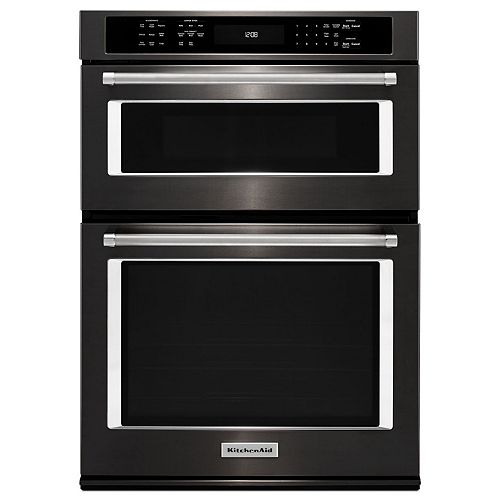 27-inch 4.3 cu. ft. Double Electric Wall Oven & Microwave with Convection in Black Stainless Steel