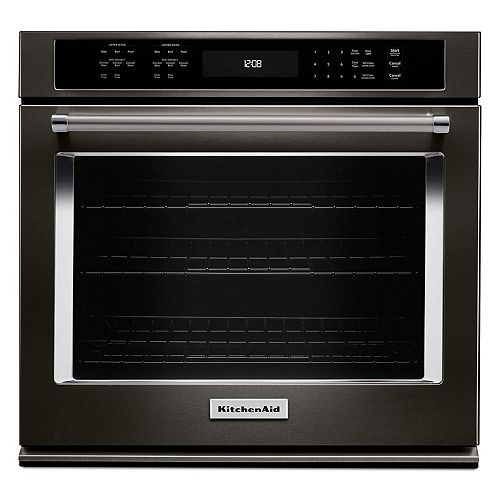 30-inch 5.0 cu. ft. Single Electric Wall Oven Self-Cleaning with Convection in Black Stainless Steel