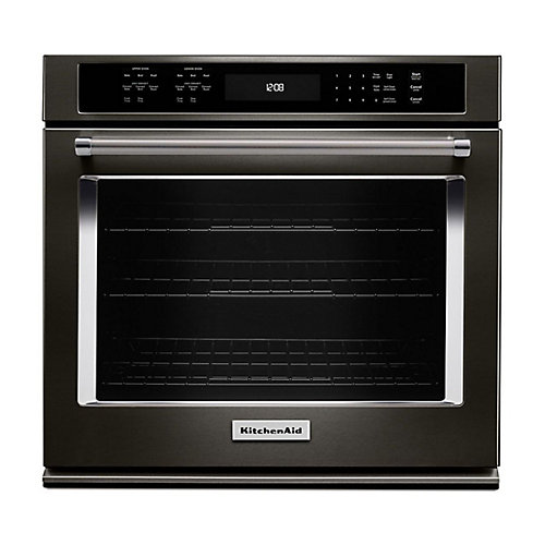 27-inch 4.3 cu. ft. Single Electric Wall Oven Self-Cleaning with Convection in Black Stainless Steel