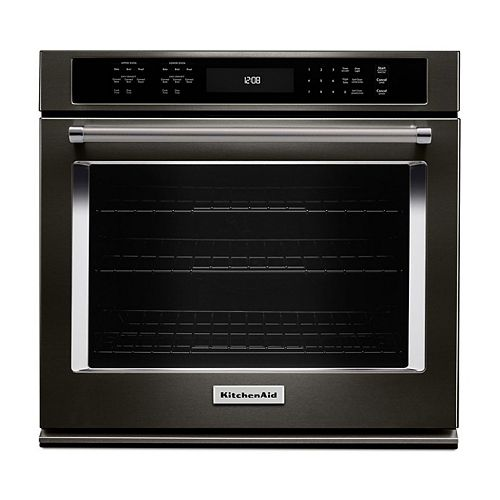KitchenAid 27-inch 4.3 cu. ft. Single Electric Wall Oven Self-Cleaning with Convection in Black Stainless Steel
