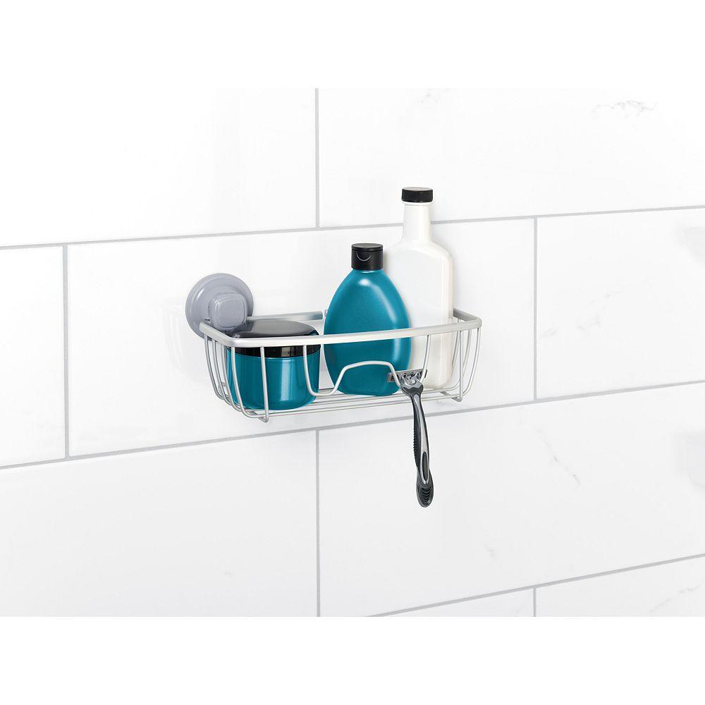 Zenna Home Serviteur de douche à ventouses PowerGrip en aluminium  NeverRust à fini en chrome satiné