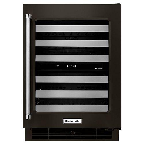 KitchenAid Réfrigérateur à vin 24 pouces W pour 46 bouteilles en acier inoxydable noir PrintShield - Porte pivotante à droite
