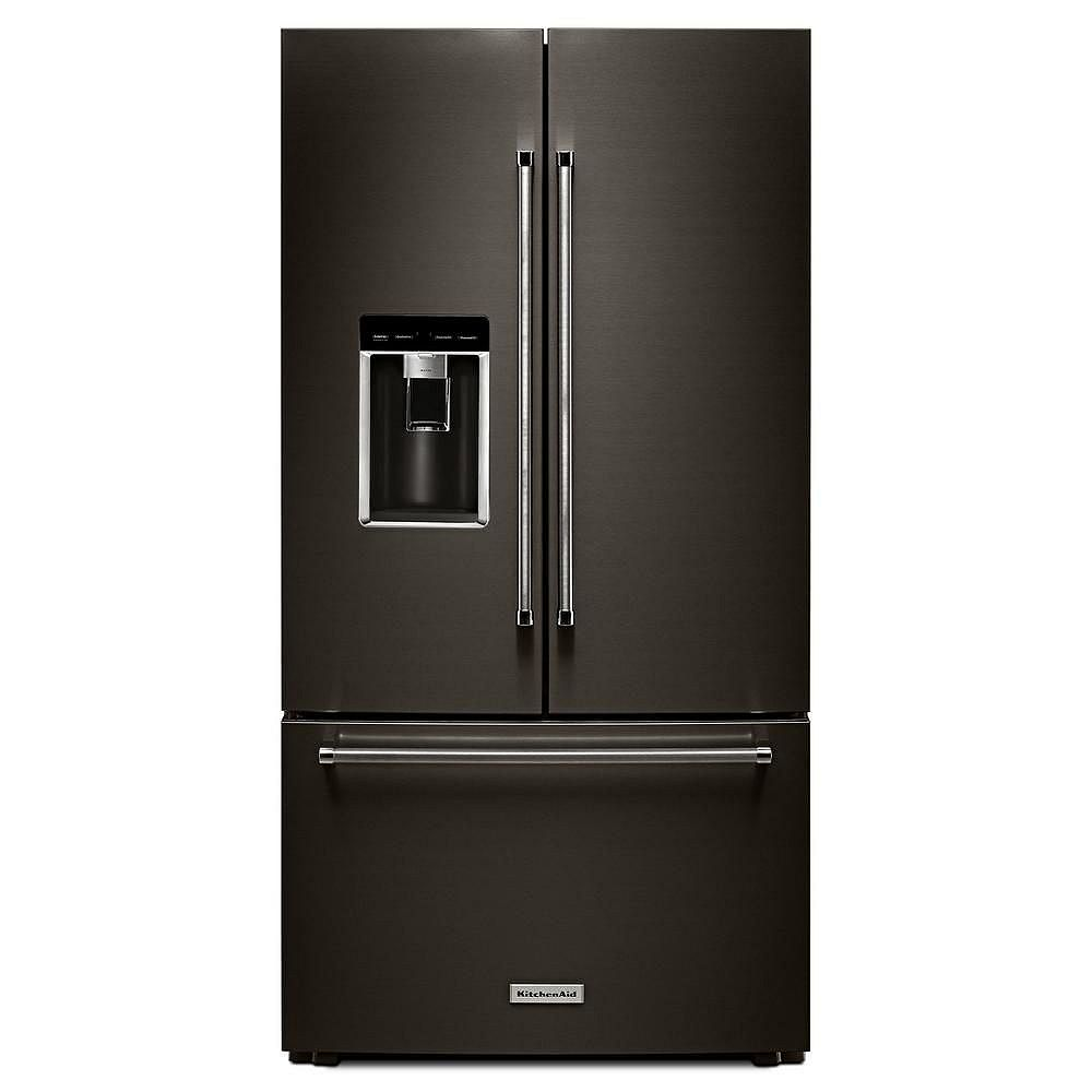 8-inch W 8.8 cu. ft. French Door Refrigerator in Black Stainless Steel  with Platinum Interior, Counter Depth