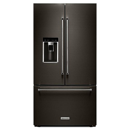 KitchenAid 36-inch W 23.8 cu. ft. French Door Refrigerator in Black Stainless Steel with Platinum Interior, Counter Depth