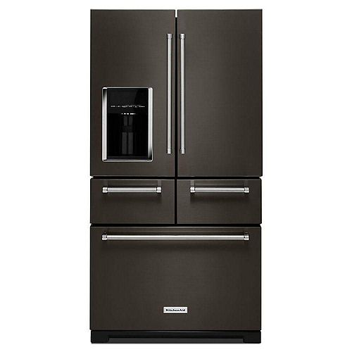 KitchenAid 36-inch W 25.8 cu. ft. Multi-Door French Door Refrigerator in Black Stainless Steel with Platinum Interior
