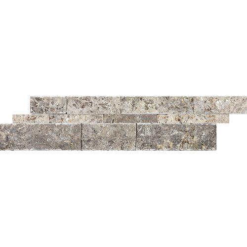 Enigma Panneaux de façade en travertin gris argenté de 6 po x 24 po