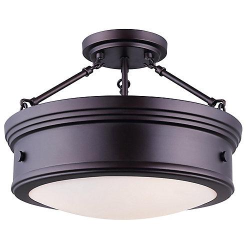 Plafonnier à 3 ampoules avec globe verre plat opale Boku, bronze huilé