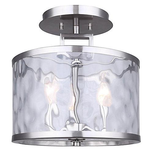 CALA plafonnier en nickel brossé à trois lumières avec verre en filigrane