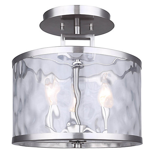 CALA 3-light brushed nickel semi-flush mount with watermark glass