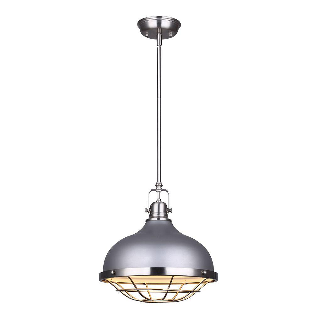 Canarm GUNNAR pendentif à une lumière en gris et nickel brossé avec cage métallique