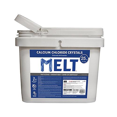 MELT 25 lb Seau de produit à cristaux de chlorure de calcium en sac réutilisable