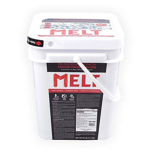 MELT 25lb Seau de produit de déglaçage en granulés de chlorure de calcium