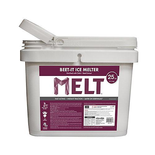 MELT 25 lb Seau de produit de deglacage avec de l'acetate de et de l'extrait de betterave