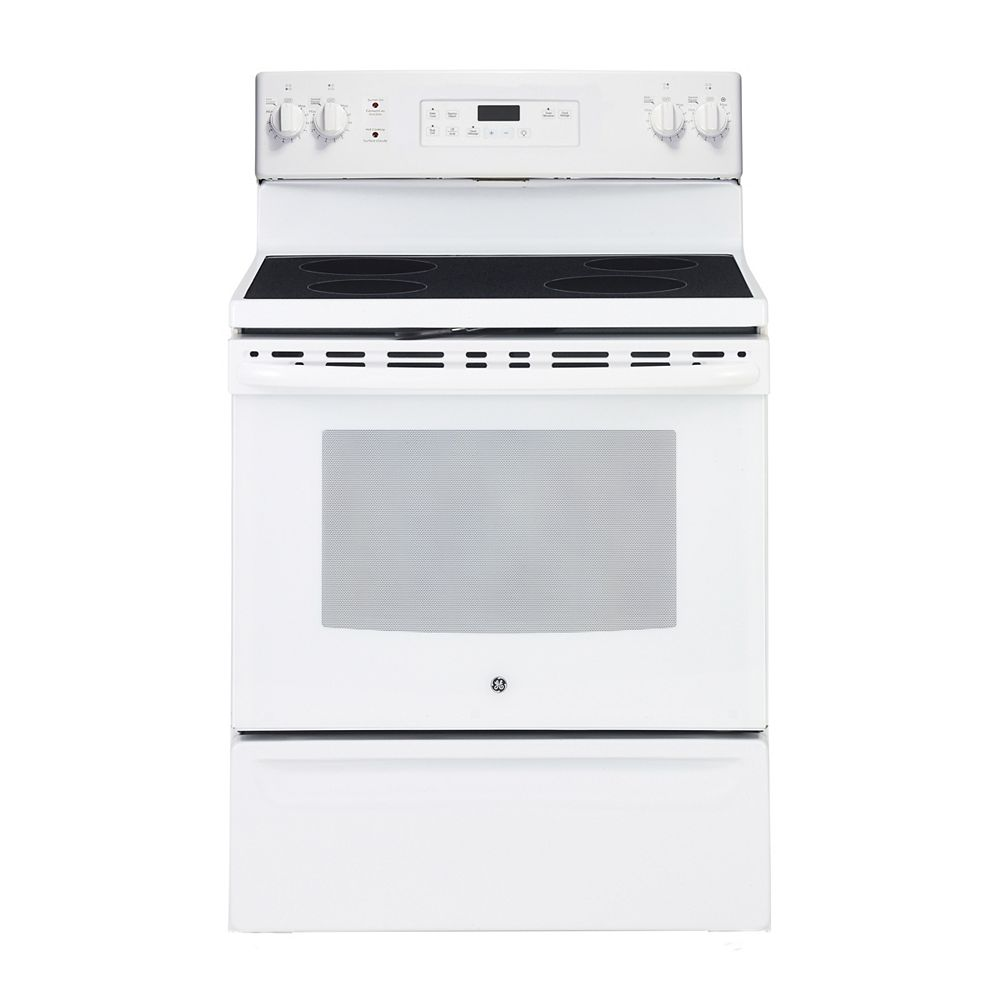 Ge 30 Inch 5 0 Cu Ft Single Oven Electric Range With Self Cleaning In White The Home Depot Canada