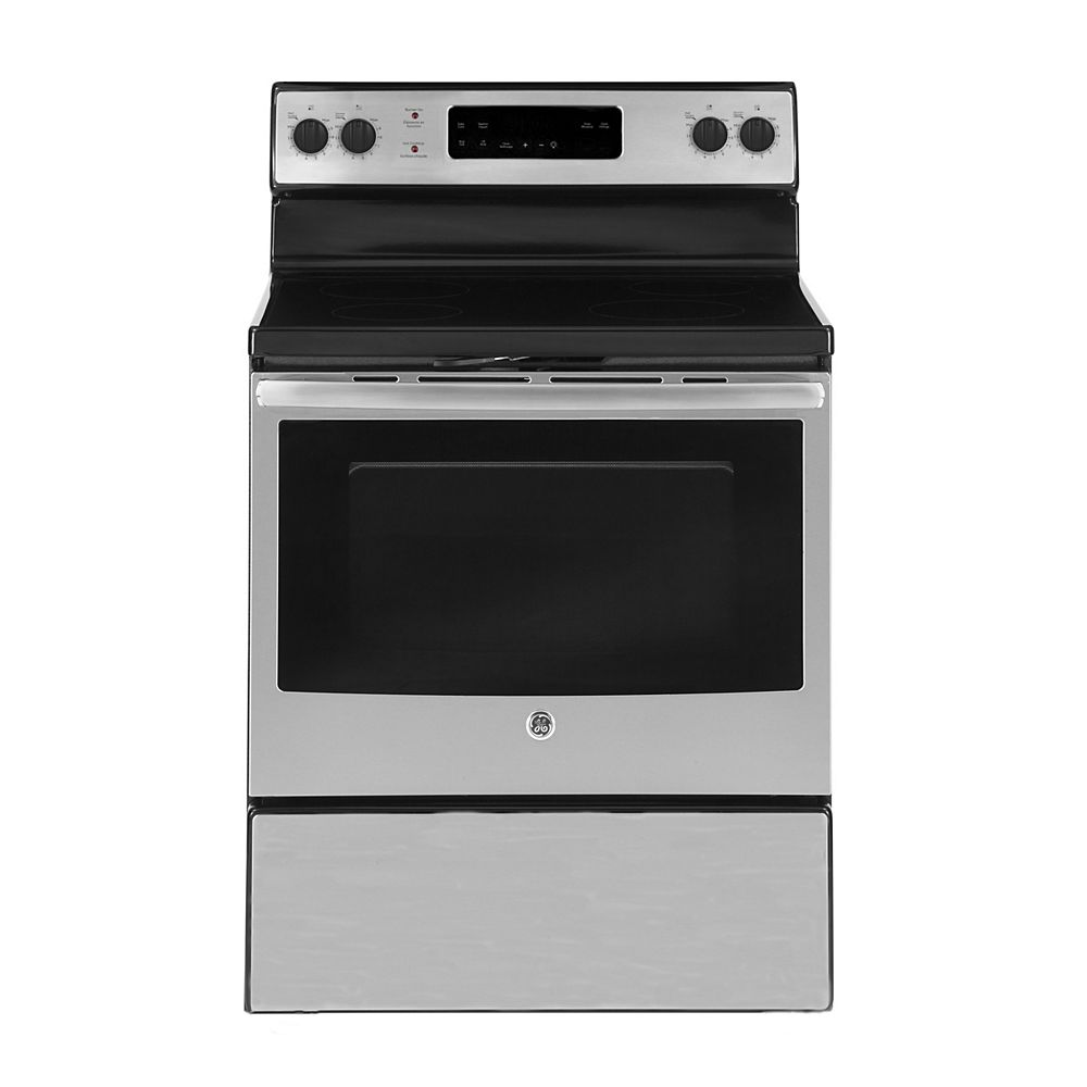 GE 30-inch 5.0 cu. ft. Single Oven Electric Range with Self-Cleaning Oven in Stainless Steel