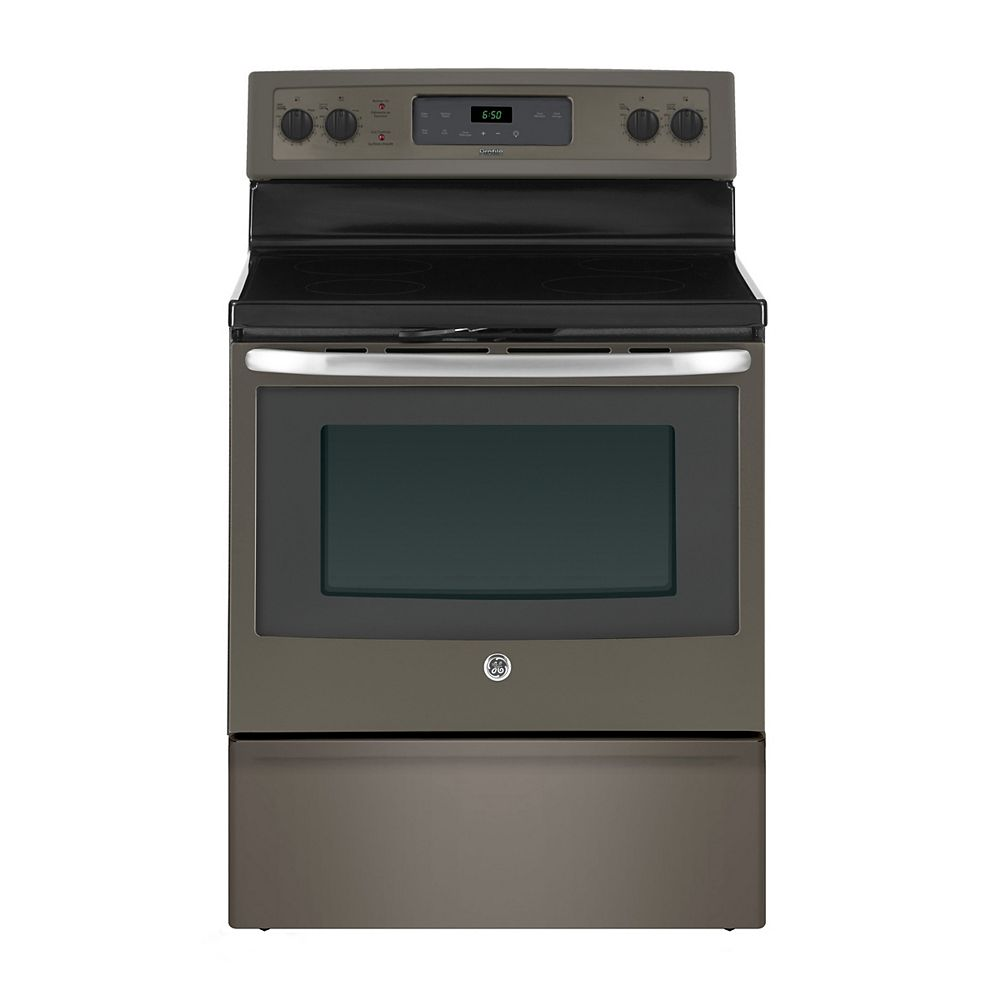 GE 30-inch 5.0 cu. ft. Single Oven Electric Range with Self-Cleaning Oven in Slate