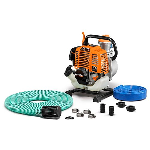 Generac 2HP 1 In. Gas Powered Clean Water Pump with Hose Kit