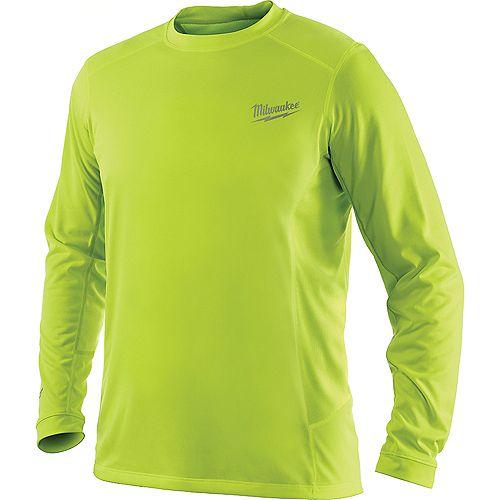 WORKSKIN Men's Large High Visibility Yellow Light Weight Performance Long Sleeve Shirt