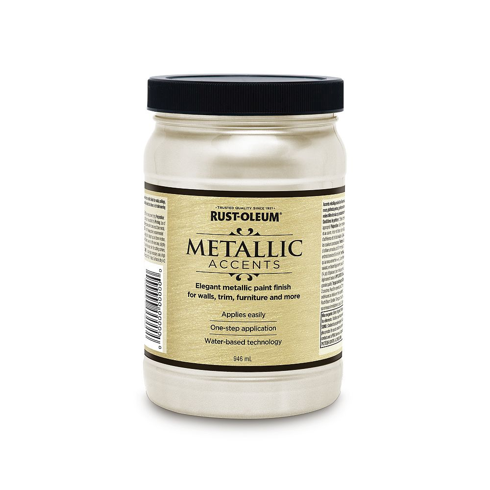 Rust-Oleum Metallic Accents Water Based Metallic Finish in White Pearl, 946 mL