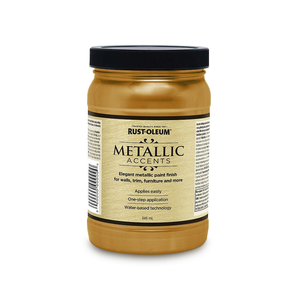 Rust-Oleum Metallic Accents Water Based Metallic Finish in Soft Gold, 946 mL