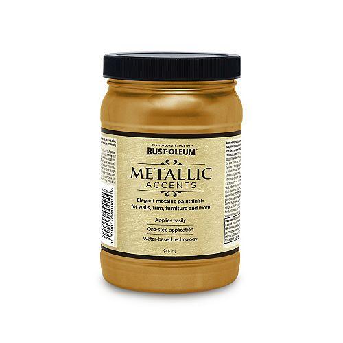 Accents Métalliques Fini Métallique à base d'eau en or doux, 946 mL