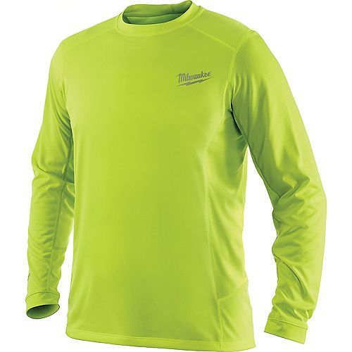 WORKSKIN Men's Extra-Large High Visibility Yellow Light Weight Performance Long Sleeve Shirt