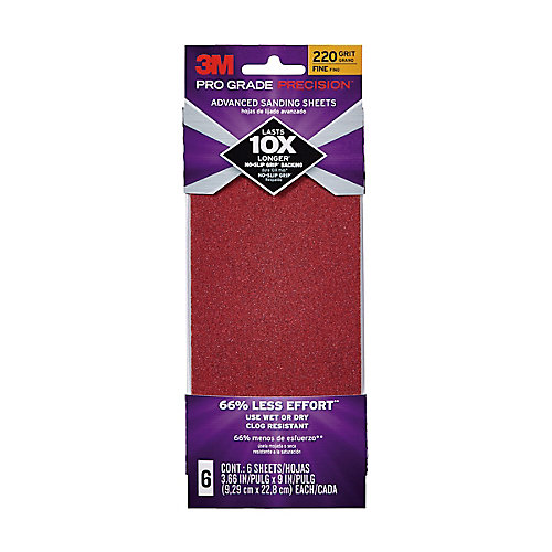 3.7X9 Sanding Sheets 220 Grit, (6-Pack)