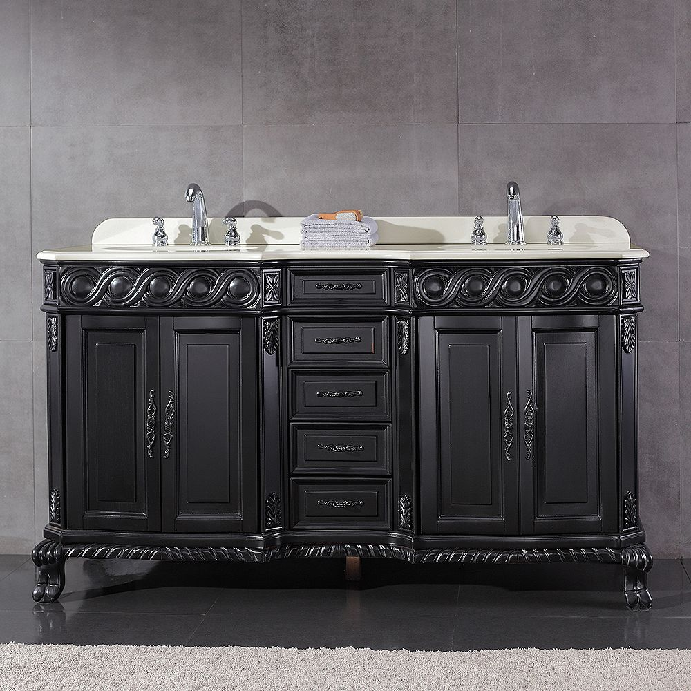 Ove Decors Trent 60-inch W x 21-inch D Vanity in Antique Black with Engineered Marble Vanity Top in White