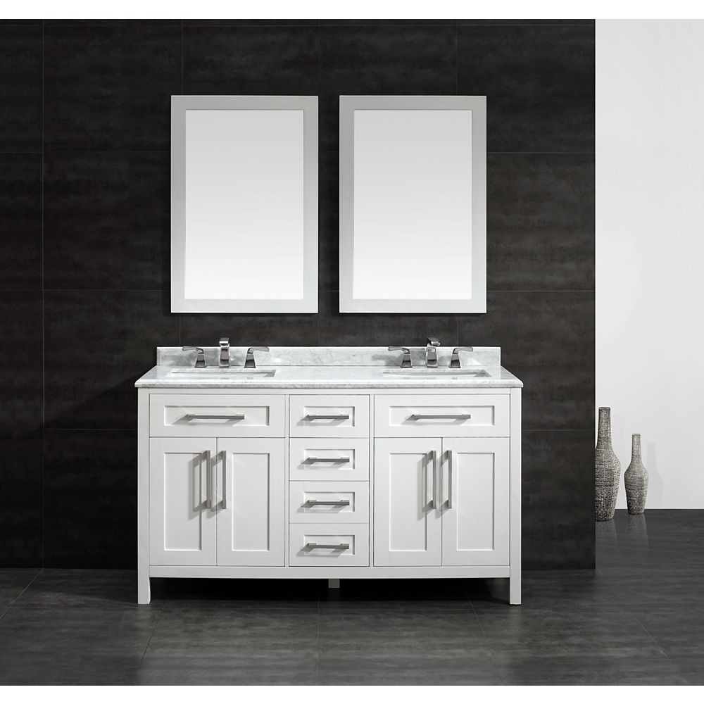 Ove Decors Santa Monica 60-inch W x 21-inch D Vanity in White with Marble Vanity Top in White with White Basins