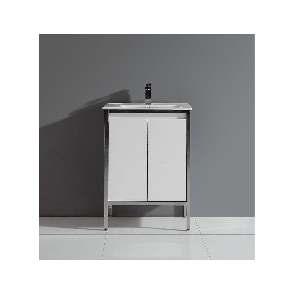 Ove Decors Adriana 24.02-inch W 2-Door Freestanding Vanity in White With Ceramic Top in White