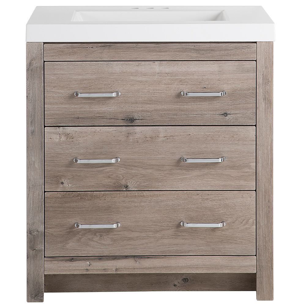 Glacier Bay Woodbrook 30.5-inch W x 34.3-inch H x 18.75-inch D Bathroom Vanity in White Washed Oak with Cultured Marble Countertop/Rectangular Sink