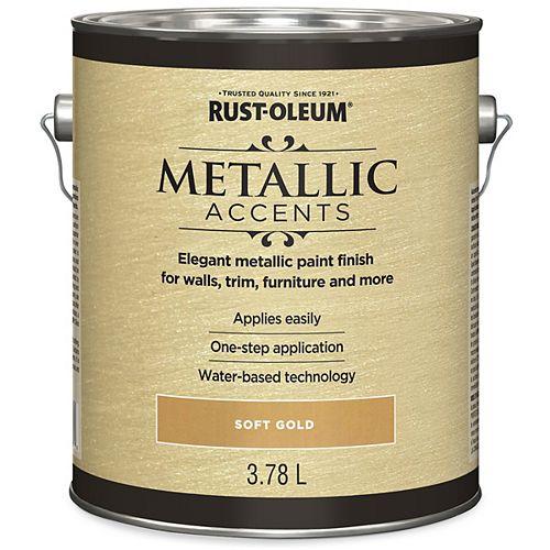Rust-Oleum Metallic Accents Water Based Metallic Finish In Soft Gold, 3.7 L