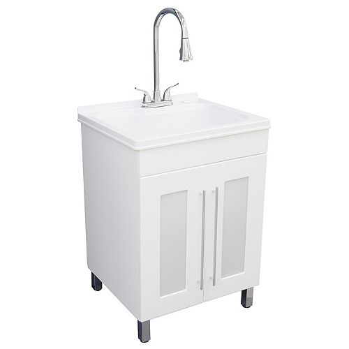 All-In-One Laundry Sink and Cabinet in White