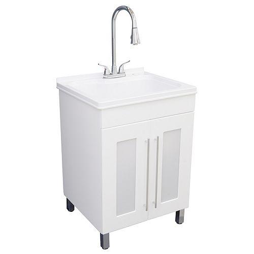 Meuble tout-en-un avec cuve à lessive à planche à laver intégrée, blanc