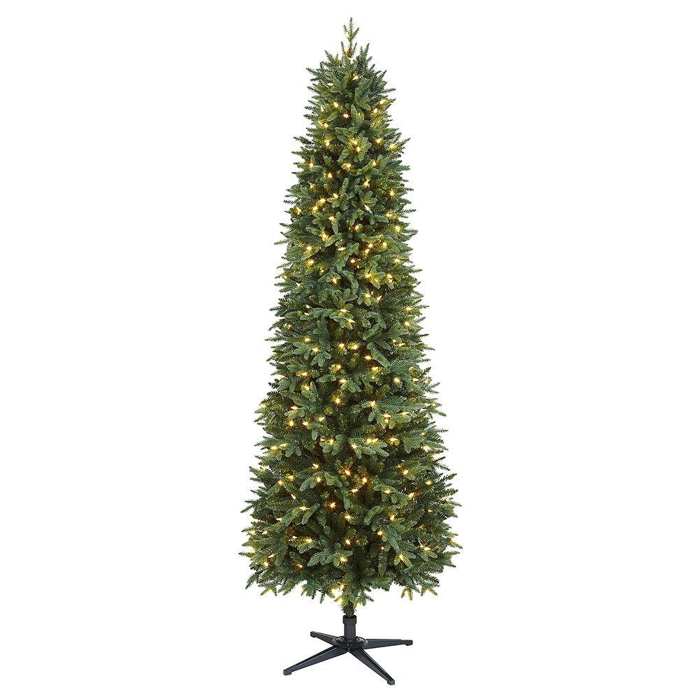 Home Accents Arbre de Noël Shelton artificiel de forme étroite de 7,5 pi pré-illuminé avec 350 ampoules à DEL