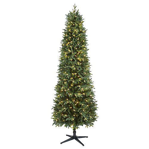 Arbre de Noël Shelton artificiel de forme étroite de 7,5 pi pré-illuminé avec 350 ampoules à DEL