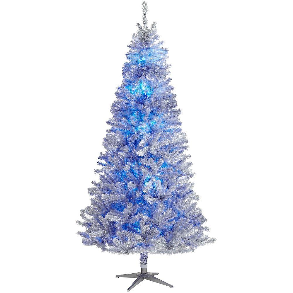Home Accents Arbre de Noël artificiel illuminé style rétro Quick Set télécommandé avec roue de couleurs, 7,5 pi