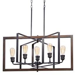 Palermo Grove 31.88-inch 5-Light Black Gilded Iron Linear Dining Table Chandelier