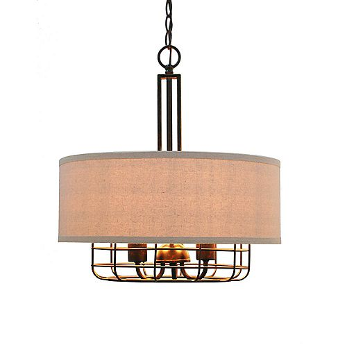 Luminaire suspendu, bronze, 3ampoules, 60W, abat-jour en tissu gris