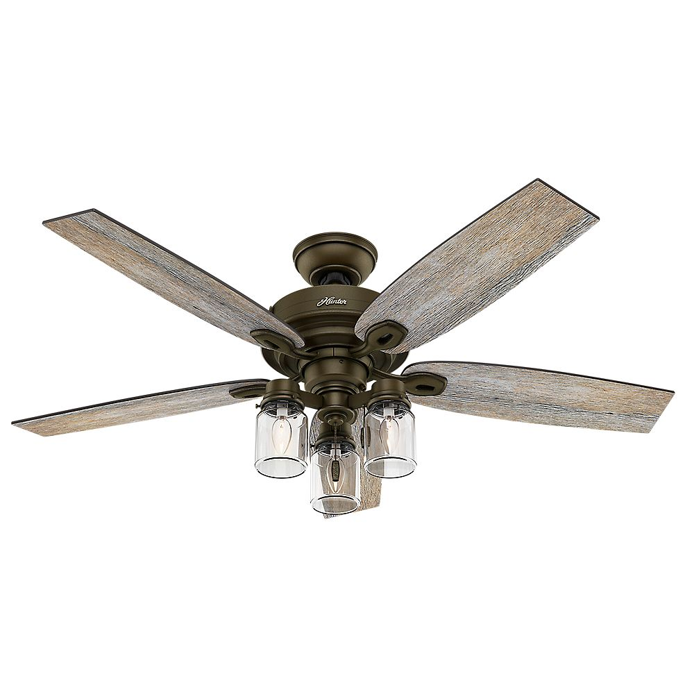 Hunter Crown Canyon 52-inch Regal Bronze Ceiling fan with light kit