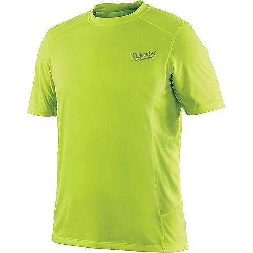 WORKSKIN Men's Medium High Visibility Yellow Light Weight Performance Short Sleeve Shirt