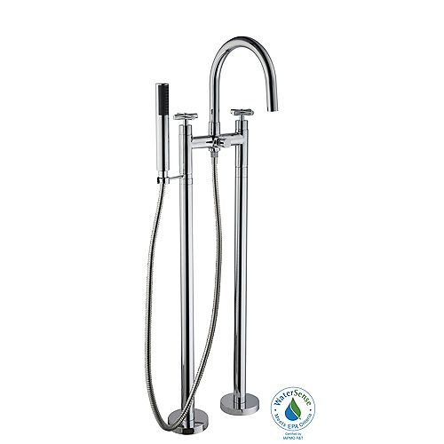 2-Handle Floor Mount Tub Filler Faucet and Hand Shower in Polished Chrome