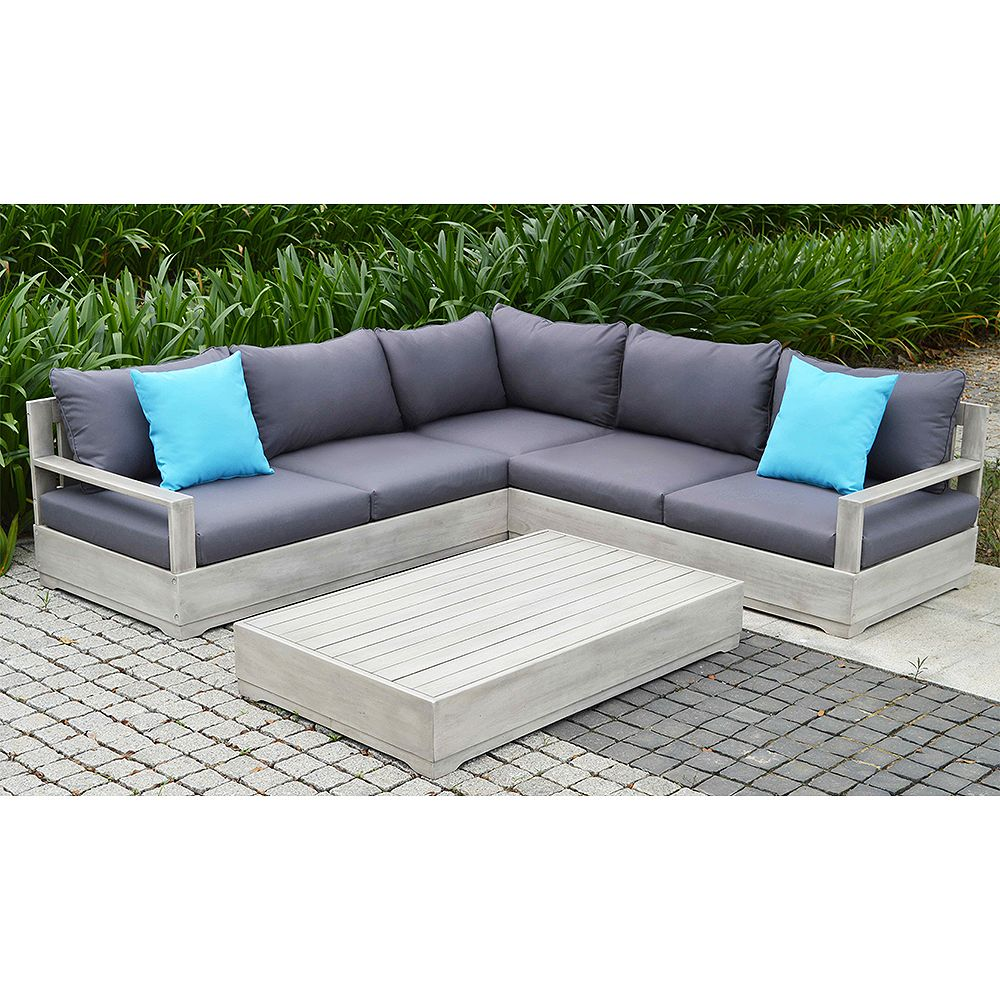 Ove Decors Beranda 3-Piece Eucalyptus Wood Outdoor Sectional Set with Cushions and Pillows